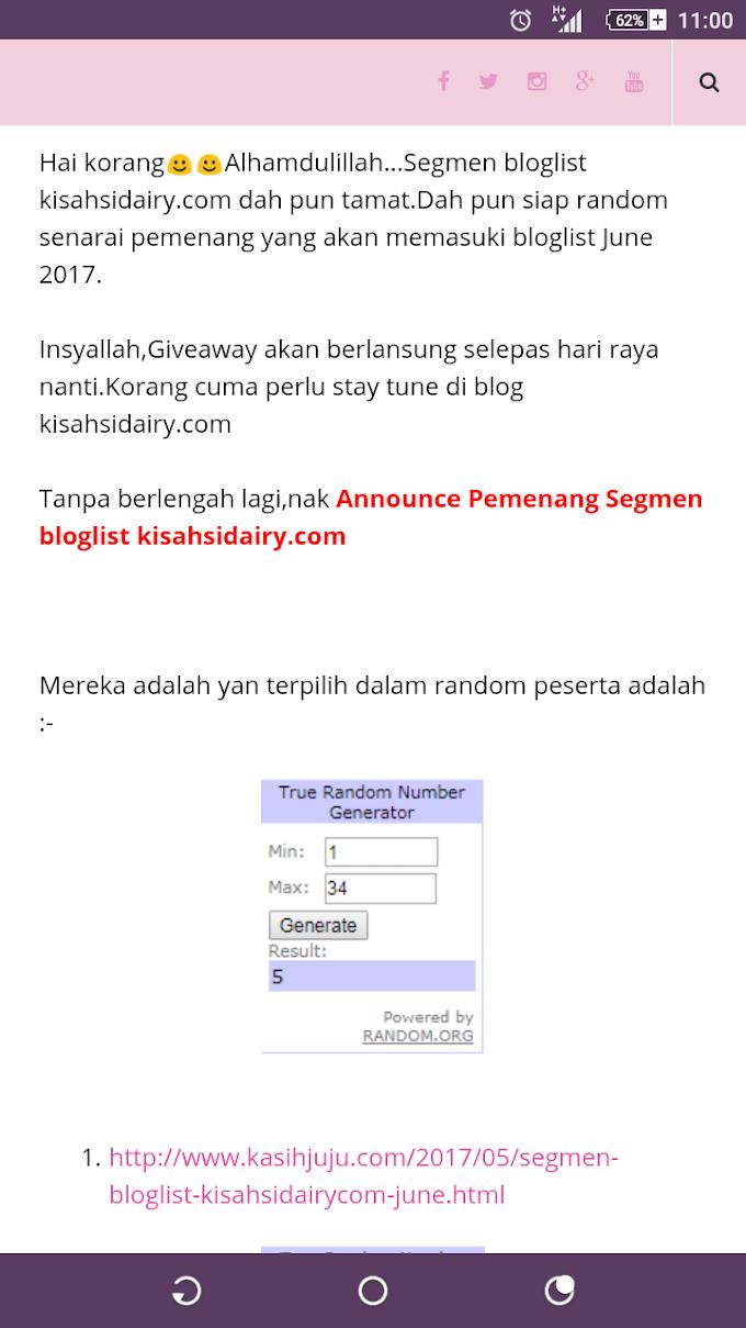 Menang Segmen Bloglist kisahsidiary.com