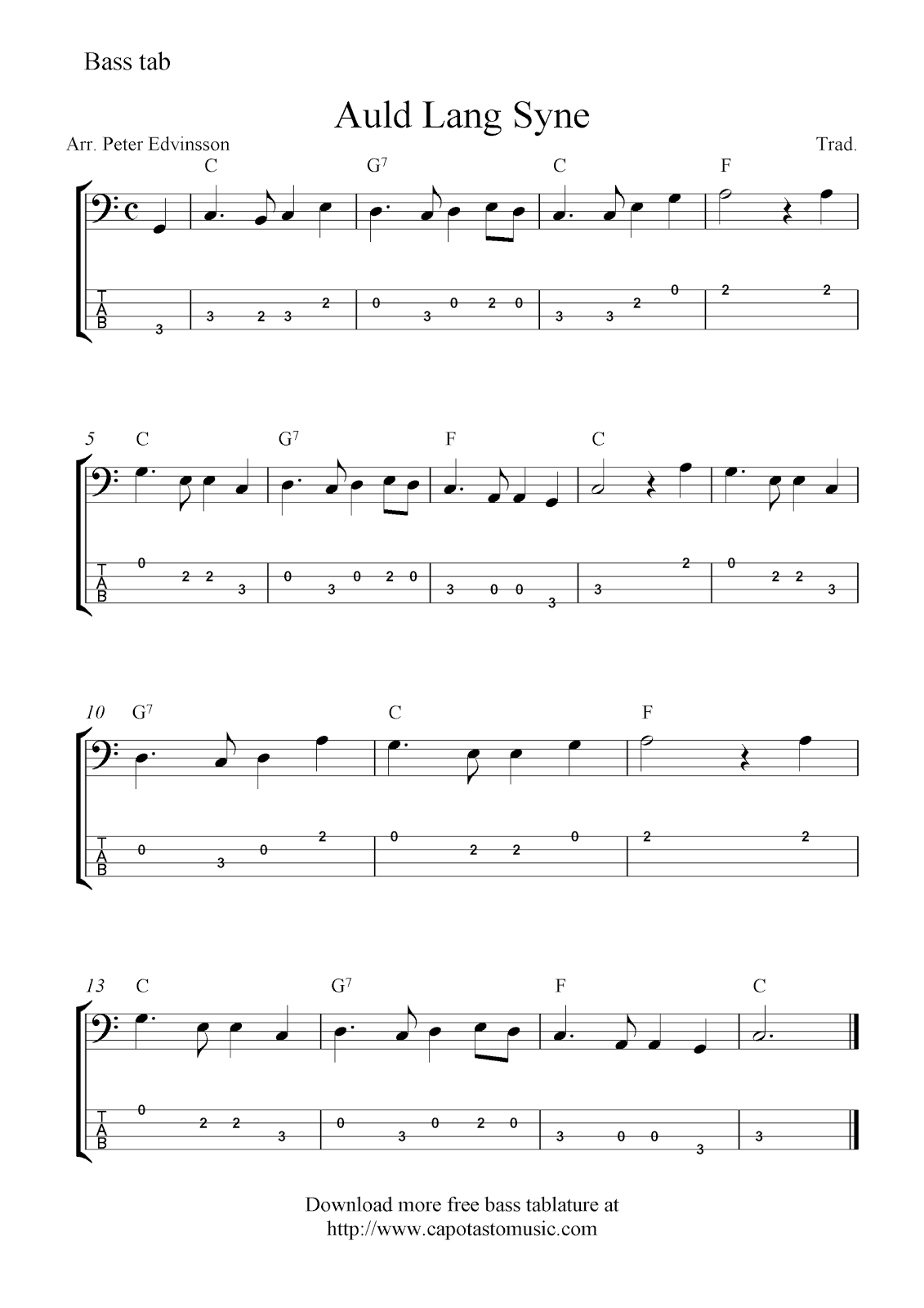 Free Easy Bass Guitar Tab Sheet Music Auld Lang Syne