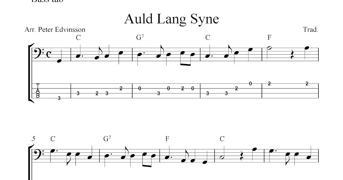 free easy bass guitar tab sheet music auld lang syne. Black Bedroom Furniture Sets. Home Design Ideas