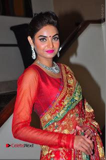 Model Sharon Fernandes Stills in Red Saree at Trendz Exhibition Launch  0019.JPG