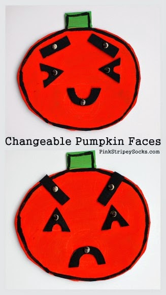 Make a changeable cardboard pumpkin face to help teach children about feelings and empathy