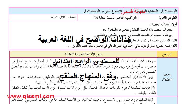جذاذات الواضح في العربية للسنة الرابعة