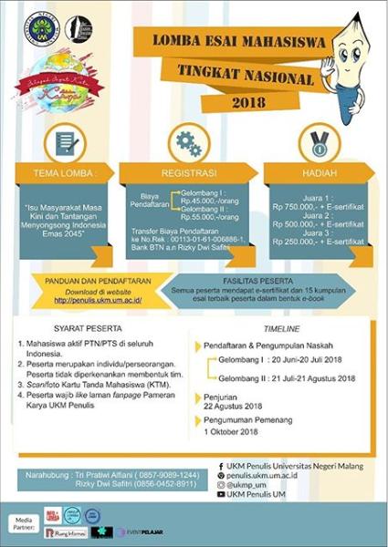 Lomba Esai Mahasiswa Tingkat Nasional UM 2018