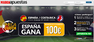 marca apuestas apuesta 5 euros gana españa vs costa rica y 100 euros 11 noviembre