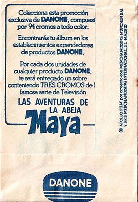 Sobre cromos Las aventuras de la Abeja Maya Danone