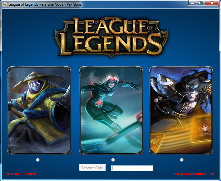 League of Legends - Rare Skin Code