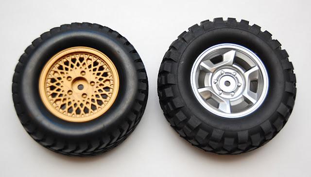 Tamiya Jeep Wrangler gold wheels and high lift wheels