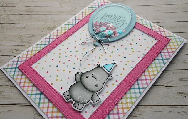 Party balloon shaker card using Happy Hippos by My Favorite Things