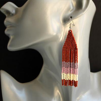 купить необычные украшения ручной работы оригинальные сережки из бисера в этническом стиле цена фото