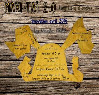 maxi-taï 2.0 dimensions mesures caractéristiques ling ling d'amour bambin mei-tai