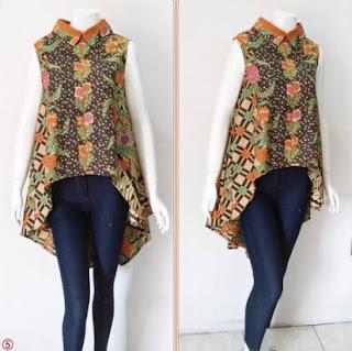 Blouse batik remaja kombinasi celana tanpa lengan