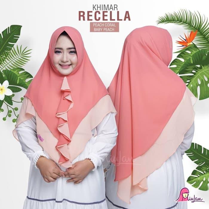 Jilbab Instan Panjang - Hijab Khimar Recella Chiffon Cerutti Murah oRANGE