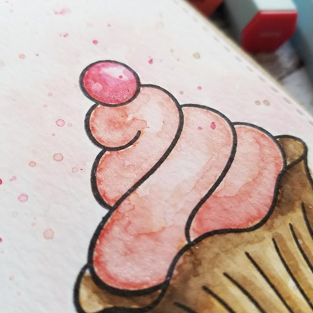 Kartenwerke: Geburtstagskarte mit Törtchen, Stempel von Crafter's Companion, koloriert mit Aqua Watercolour Marker