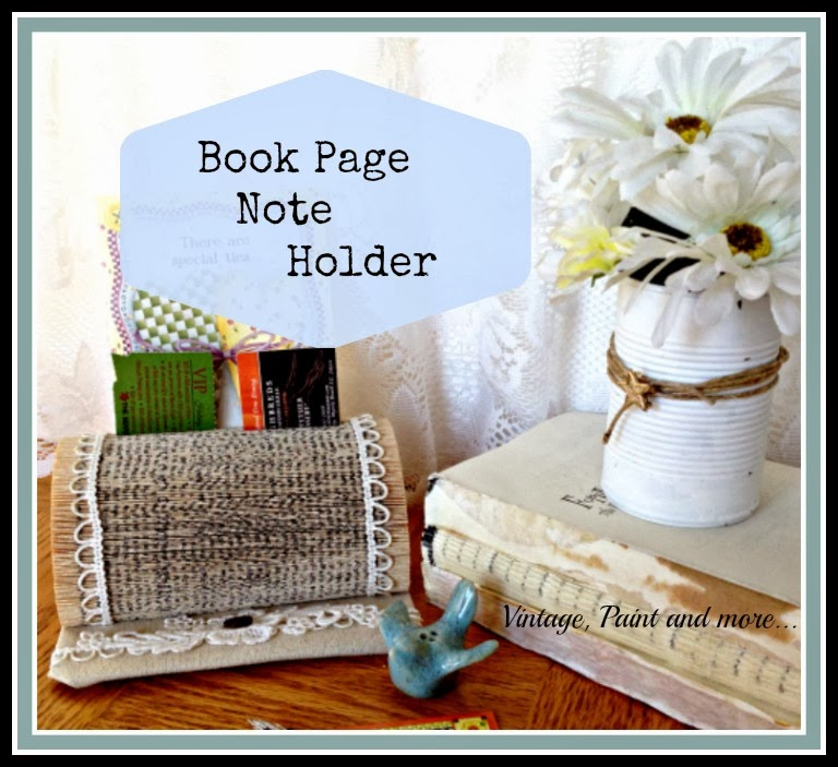 Book Page Note Holder- biz card holder made from old paper back book, trimmed with lace