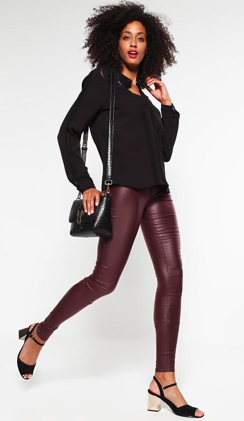 Pantalon femme Skinny bordeaux Vero Moda