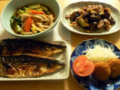 夕食の献立 献立レシピ 飽きない献立 寒サバ一夜干しは旨い! 小松菜煮浸し ナスと豚バラ味噌焼き コロッケ