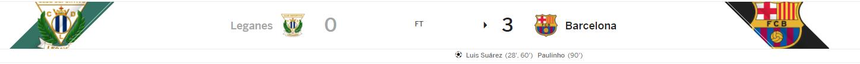 แทงบอลออนไลน์ บาคาร่า ไฮไลท์ เหตุการณ์การแข่งขันระหว่าง เลกาเนส Vs บาร์เซโลน่า