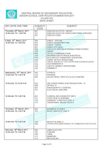 CBSC 12th std Public Exam Time Table