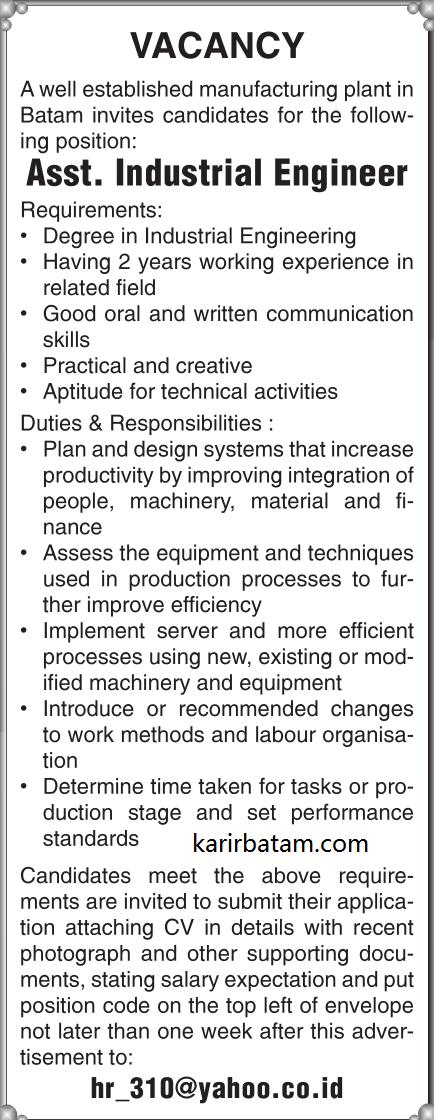 Lowongan Kerja Assistant Industrial Engineer