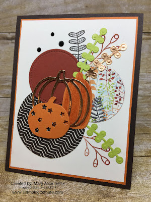 Stampin' Up! Pick a Pumpkin Bundle Card by Mary Alice Bellis for Sept Stamping to Share Demo Meeting Swap.