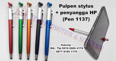 souvenir pulpen yang multifungsi, pen jepit HP, pen penyangga HP, pen stylus, pen touchscreen, pen stand HP, Pen layar sentuh (pen 1137)