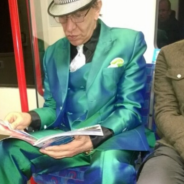 green suit,