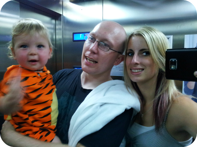 family photo in lift