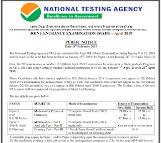 JEE Mains April -2019 Test - B.Tech B.Arch Joint Entrance Exam Notification Apply Online Last Date 07-03-2019