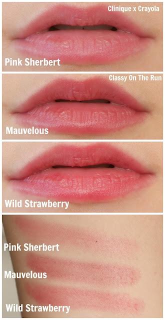 crayola clinique lip swatch pink sherbert mauvelous wild strawberry