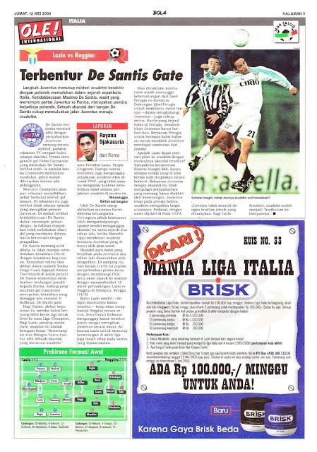 LAZIO VS REGGINA TERBENTUR DE SANTIS GATE