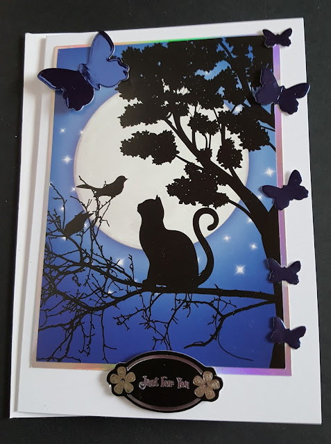 """Just for you - Cat and butterflies 7"""" x 5"""" white card"""