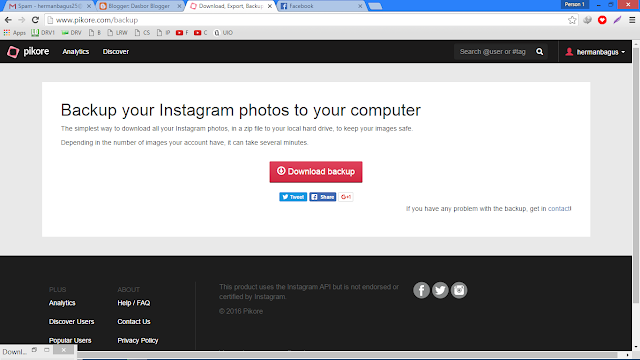 Cara Backup (Download) Semua Foto Kita yang Ada di Instagram Hermanbagus download bakcup