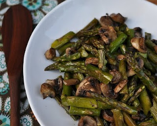 Roasted Asparagus & Mushrooms