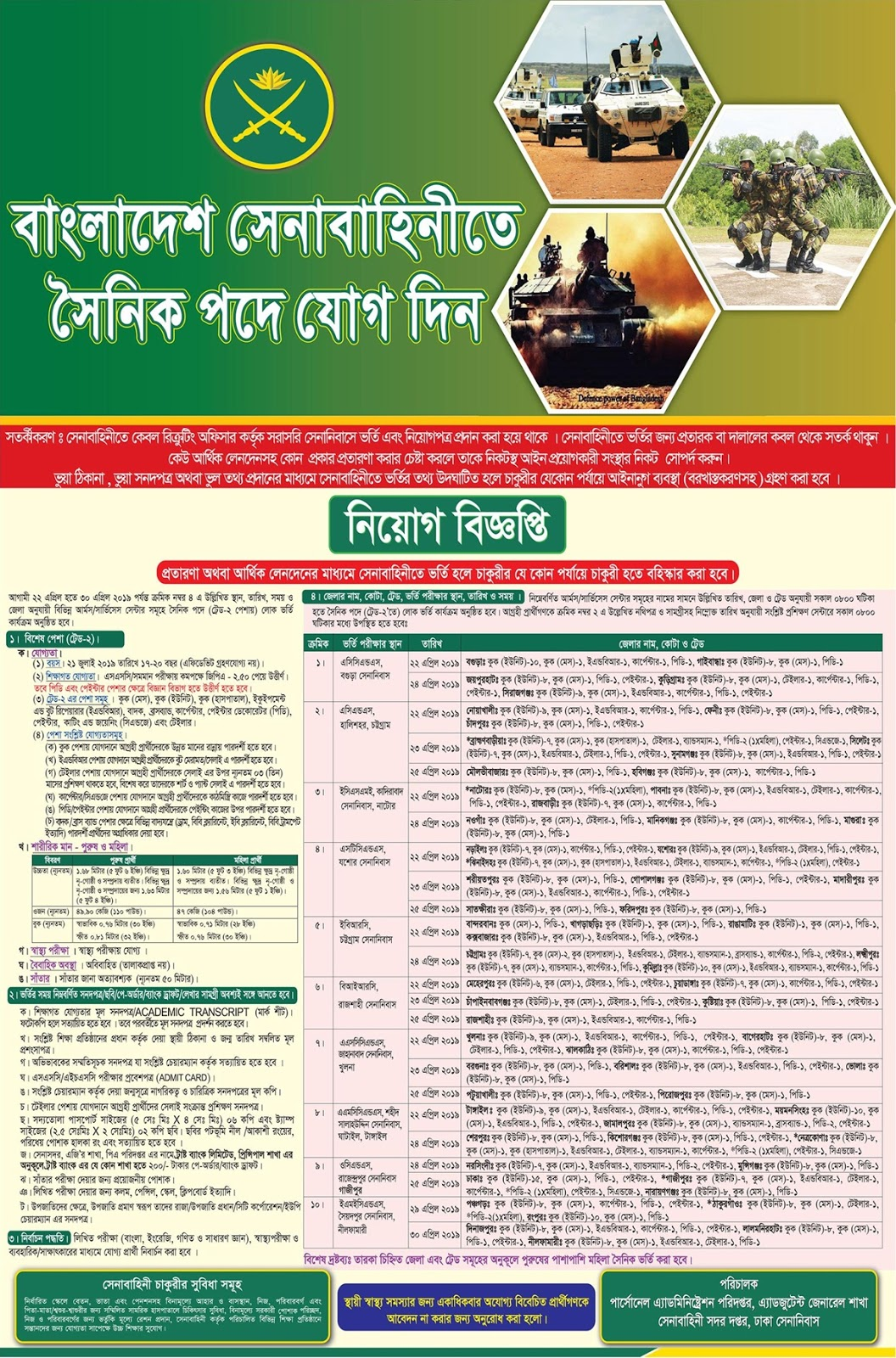 Bangladesh Army Special Occupation Soldier (সৈনিক)  Recruitment Circular 2019