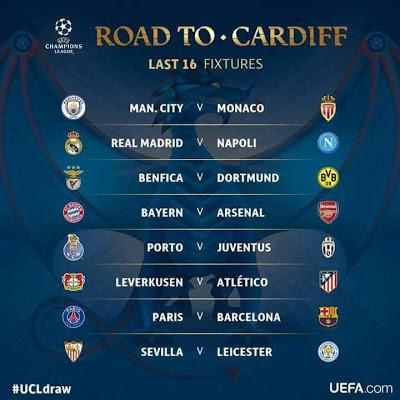 Bayern vs Arsenal, Leicester vs Sevilla (UEFA champions league last 16 fixtures in full)