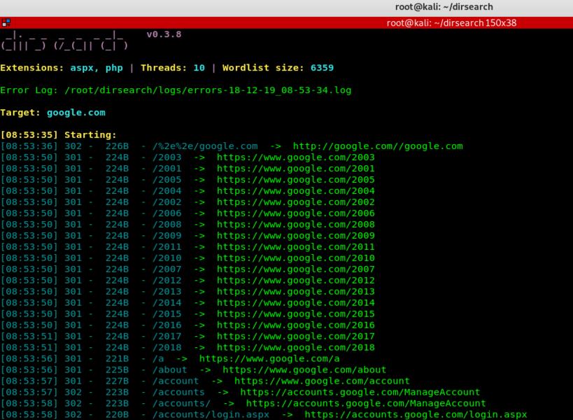 DirSearch - A Web Path Scanner | Kali Linux - Kali Linux