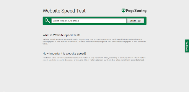 Page Scoring Website Speed Test
