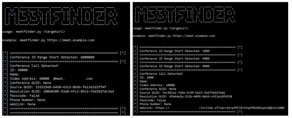 m33tfinder functioning when detecting conferences, both in legacy and secure mode img