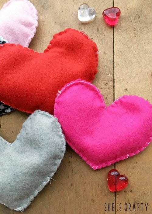 Felt Heart Hand Warmers that can be microwaved to keep hands warm