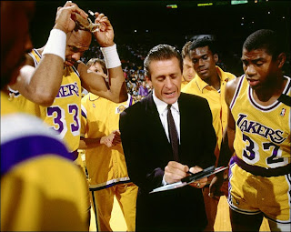 Pat Riley, Kareem Abdul Jabar, Magic Johnson, Showtime Lakers, Lakers
