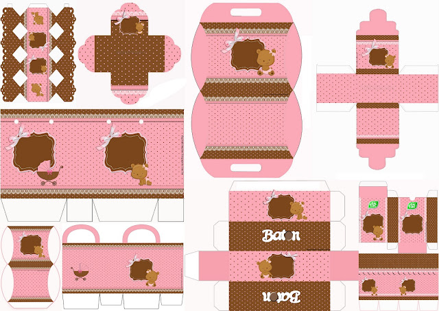 Baby Girl Bear: Free Printable Boxes.