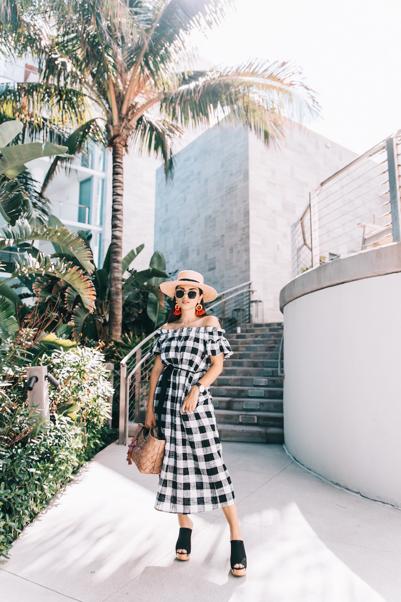 plaid dress, clogs, tuckernuck, straw hat, boater hat,  rafia bag, statement earrings, hm