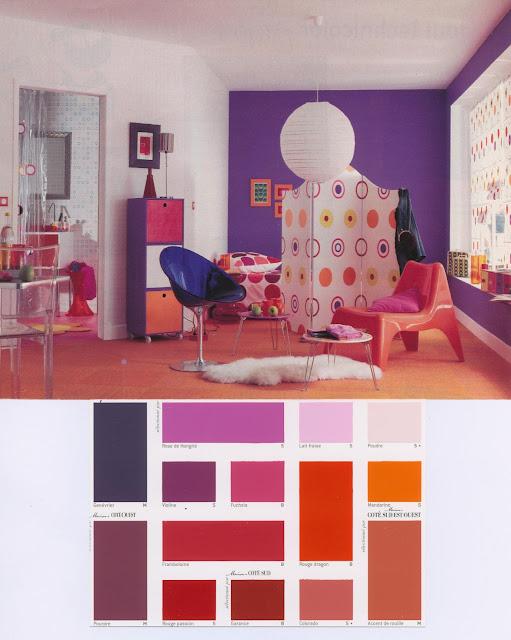 décoration, salon, pop, coloré, violet, orange, jeune, dynamique, teintes, vintage