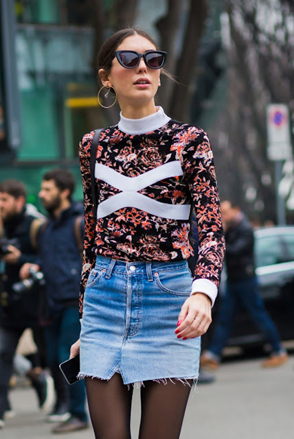 floral print top denim skirt street style