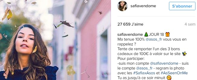 Exemple de post sponsorisé sur Instagram