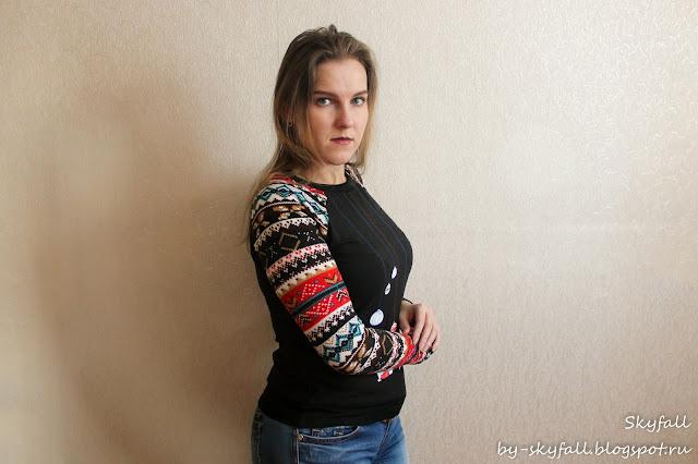 Print Spliced Sweatshirt