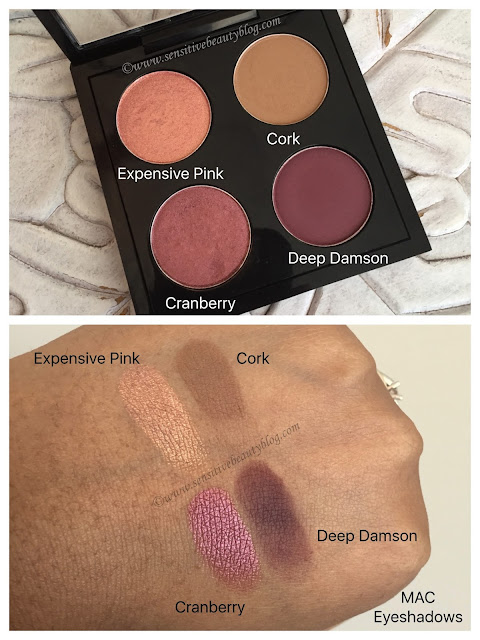 MAC eyeshadow quad idea (expensive pink, cranberry, cork, and deep damson)