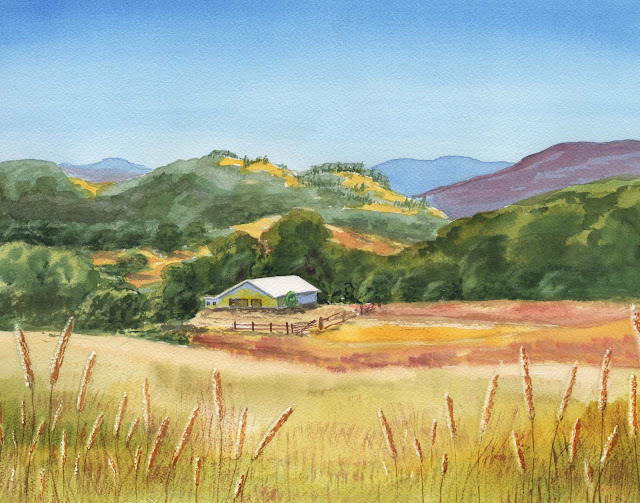 watercolor painting summer hills and field