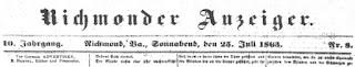 Richmonder Anzeiger. 10. Jg, Nr. 8, Sa., den 25. Juli 1863, S. 1